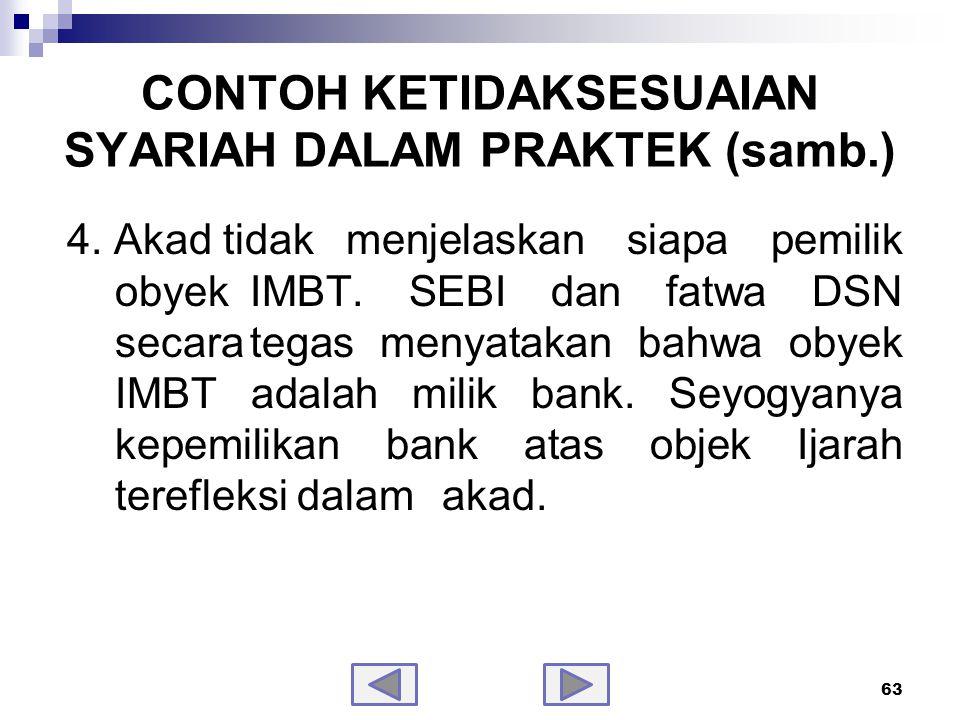 CONTOH KETIDAKSESUAIAN SYARIAH DALAM PRAKTEK (samb.)