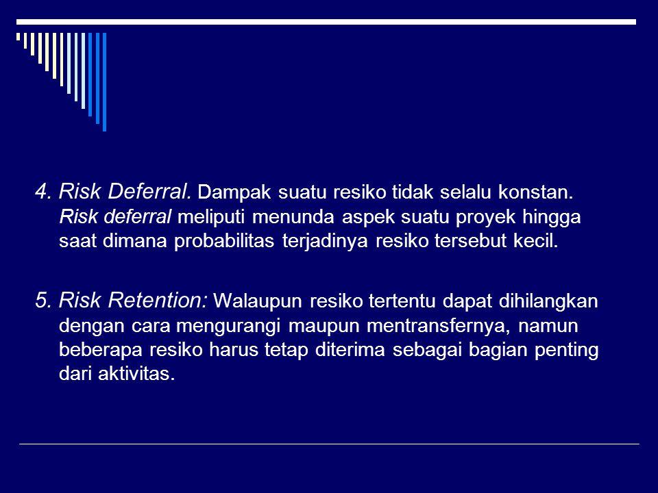 4. Risk Deferral. Dampak suatu resiko tidak selalu konstan