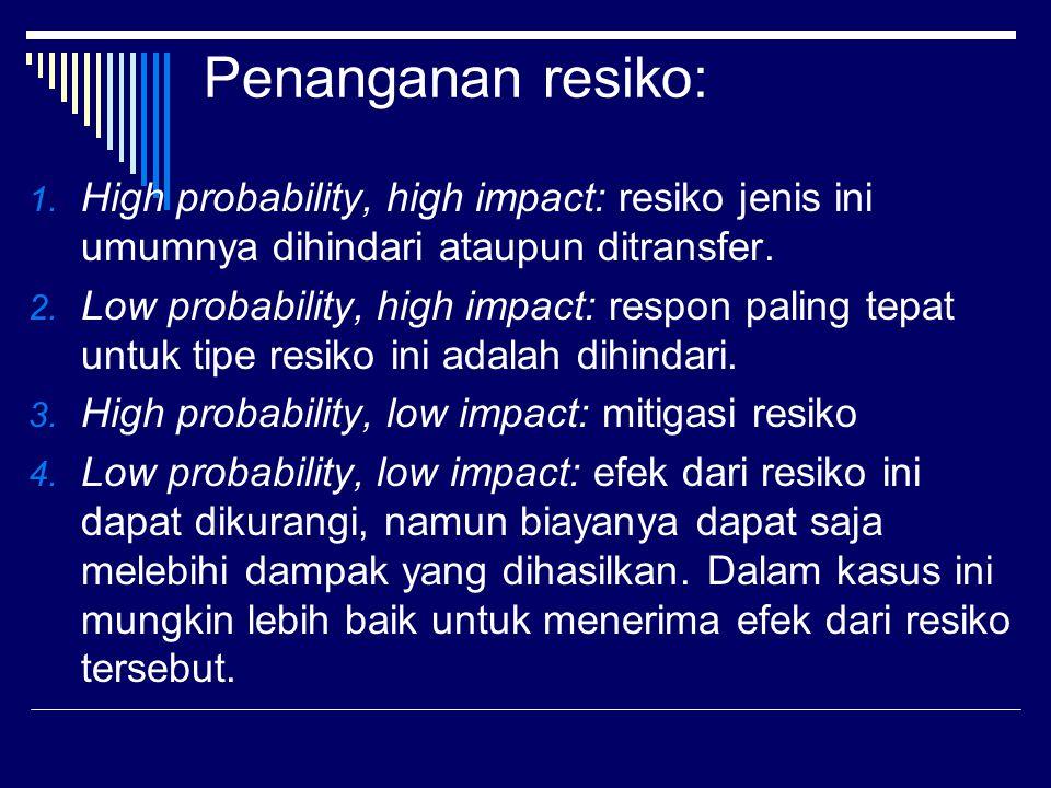 Penanganan resiko: High probability, high impact: resiko jenis ini umumnya dihindari ataupun ditransfer.