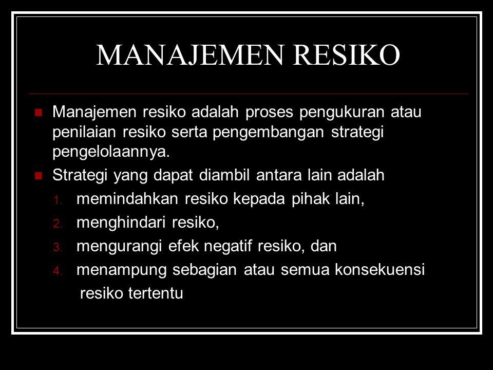MANAJEMEN RESIKO Manajemen resiko adalah proses pengukuran atau penilaian resiko serta pengembangan strategi pengelolaannya.