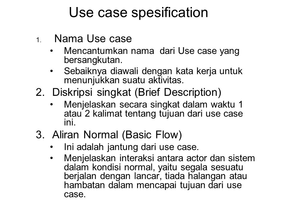 Use case spesification