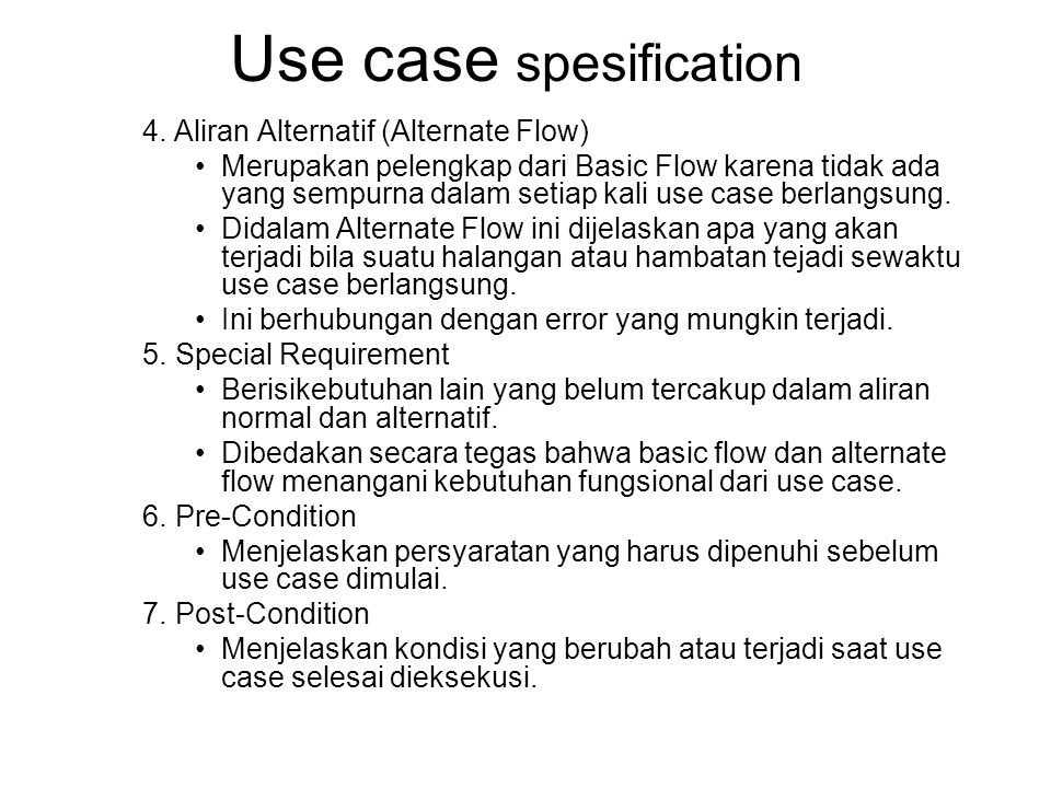 Use case spesification