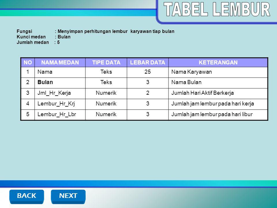 TABEL LEMBUR BACK NEXT NO NAMA MEDAN TIPE DATA LEBAR DATA KETERANGAN 1
