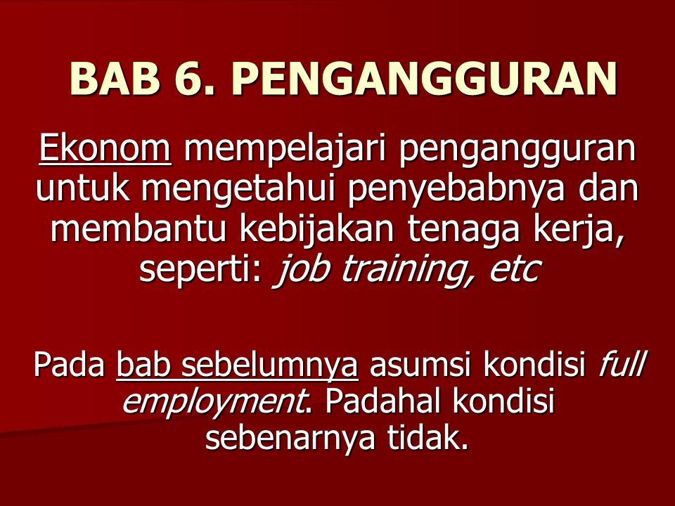 BAB 6. PENGANGGURAN Ekonom mempelajari pengangguran untuk mengetahui penyebabnya dan membantu kebijakan tenaga kerja, seperti: job training, etc.