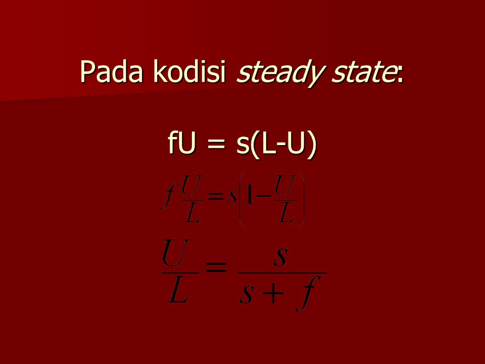 Pada kodisi steady state: fU = s(L-U)