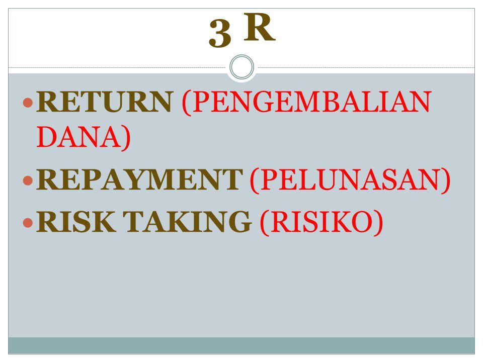 3 R RETURN (PENGEMBALIAN DANA) REPAYMENT (PELUNASAN)