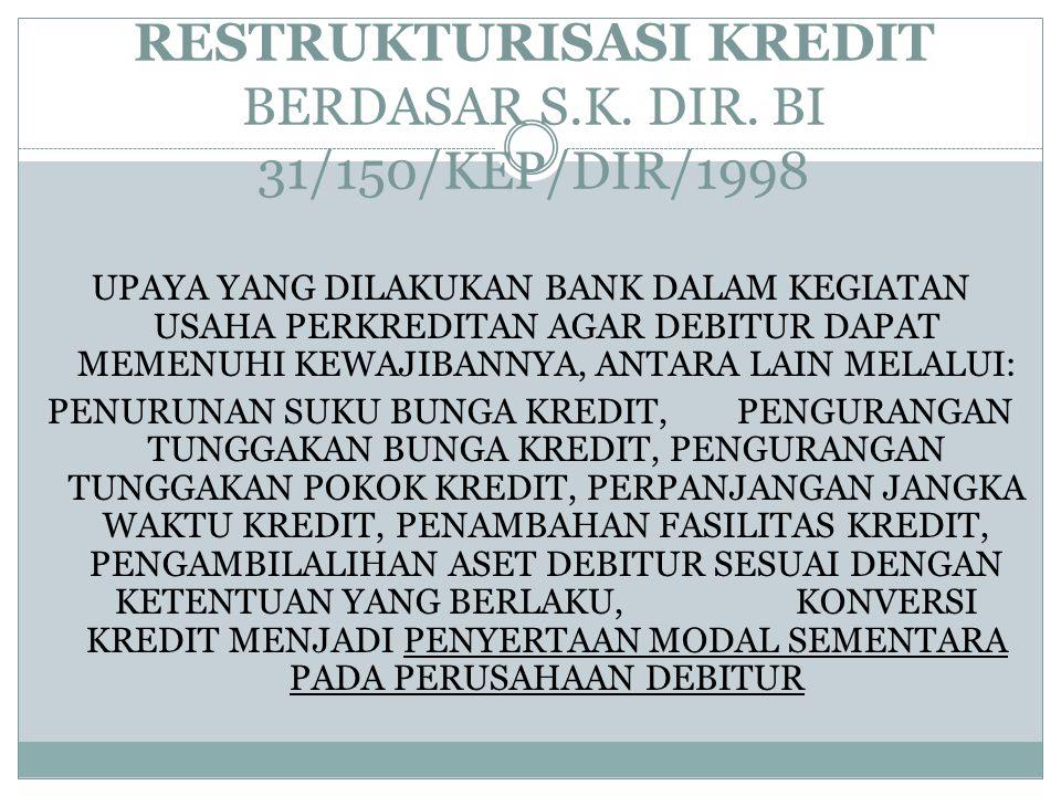 RESTRUKTURISASI KREDIT BERDASAR S.K. DIR. BI 31/150/KEP/DIR/1998