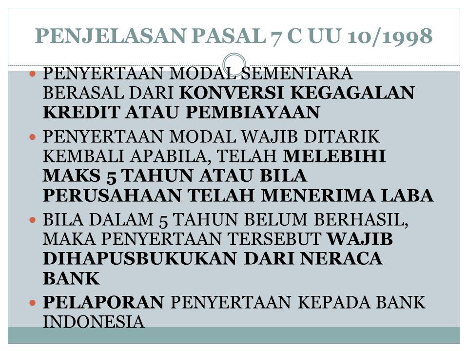 PENJELASAN PASAL 7 C UU 10/1998 PENYERTAAN MODAL SEMENTARA BERASAL DARI KONVERSI KEGAGALAN KREDIT ATAU PEMBIAYAAN.
