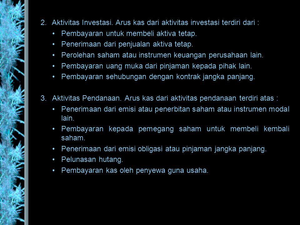 Aktivitas Investasi. Arus kas dari aktivitas investasi terdiri dari :