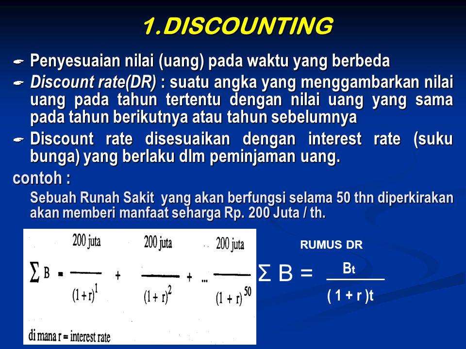 1.DISCOUNTING Σ B = Penyesuaian nilai (uang) pada waktu yang berbeda