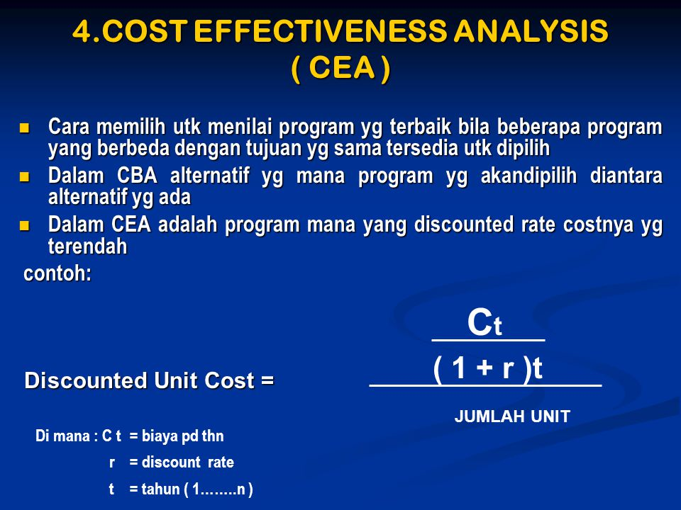 4.COST EFFECTIVENESS ANALYSIS ( CEA )