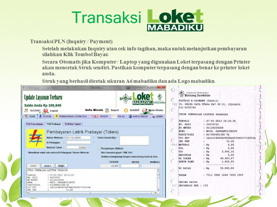 Transaksi Transaksi PLN (Inquiry / Payment)