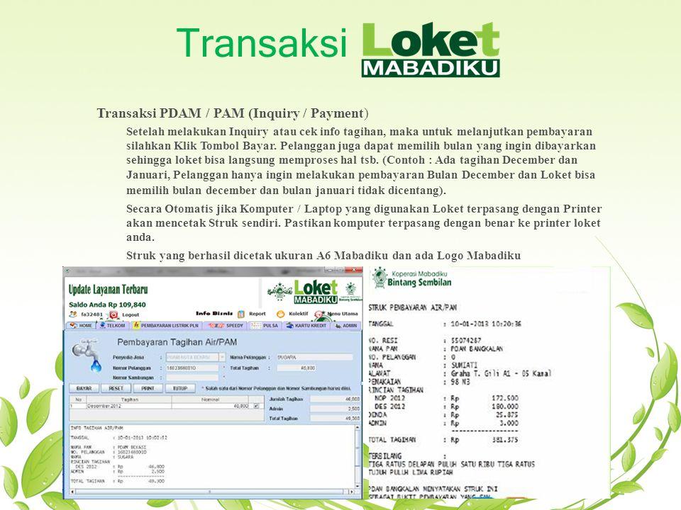 Transaksi Transaksi PDAM / PAM (Inquiry / Payment)