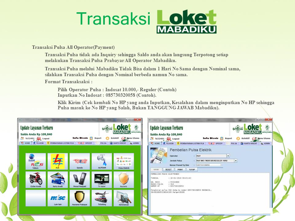 Transaksi Transaksi Pulsa All Operator(Payment)