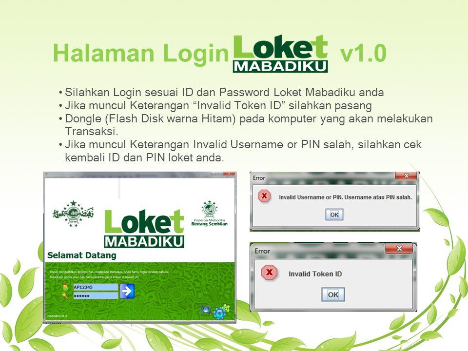 Halaman Login v1.0 Silahkan Login sesuai ID dan Password Loket Mabadiku anda.