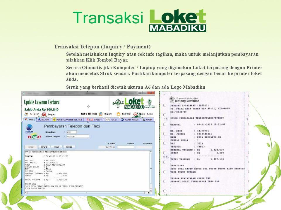 Transaksi Transaksi Telepon (Inquiry / Payment)