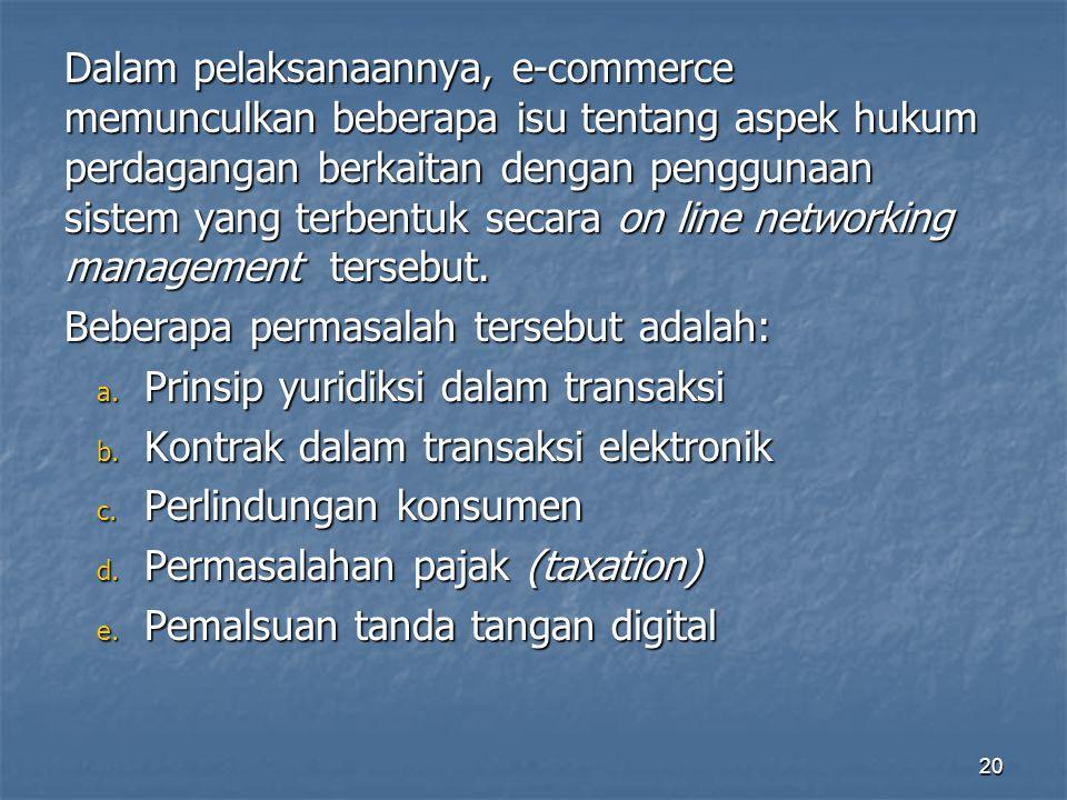 Dalam pelaksanaannya, e-commerce memunculkan beberapa isu tentang aspek hukum perdagangan berkaitan dengan penggunaan sistem yang terbentuk secara on line networking management tersebut.