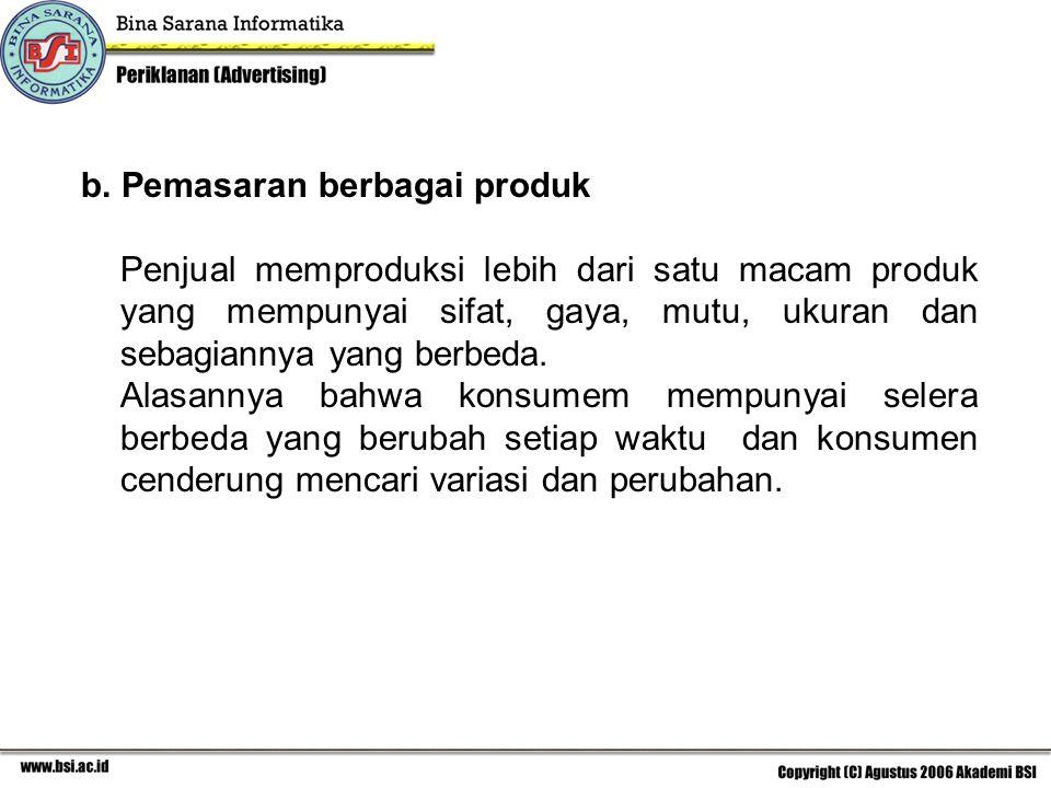 b. Pemasaran berbagai produk