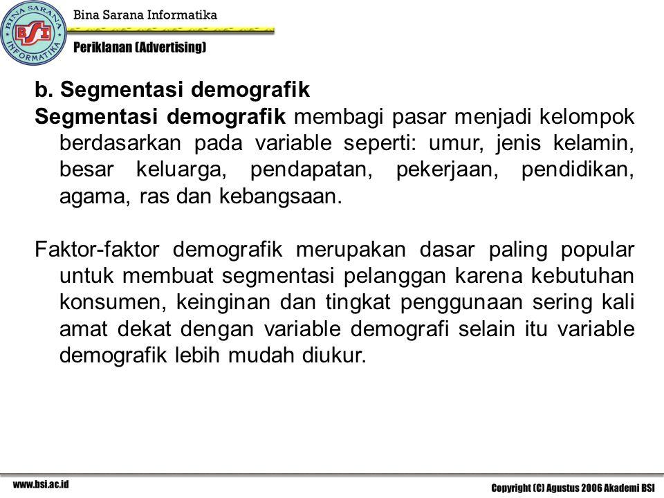 b. Segmentasi demografik