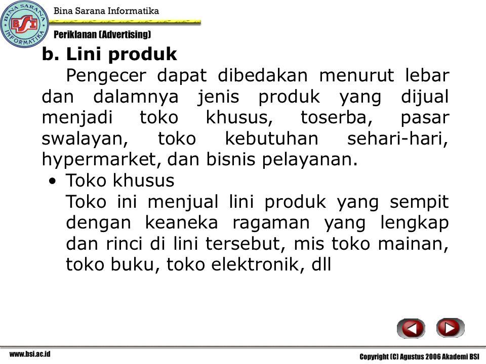 b. Lini produk