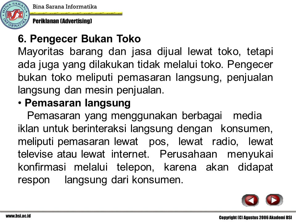6. Pengecer Bukan Toko
