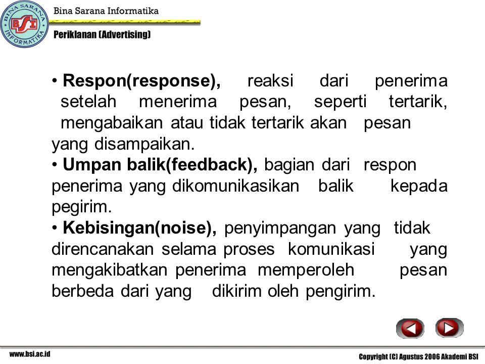 Respon(response), reaksi dari penerima