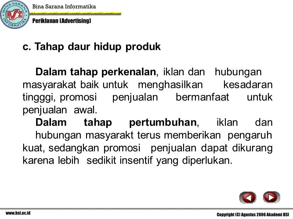 c. Tahap daur hidup produk