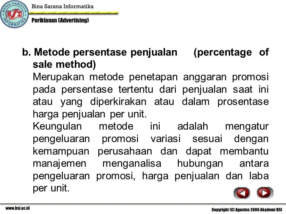 b. Metode persentase penjualan (percentage of sale method)
