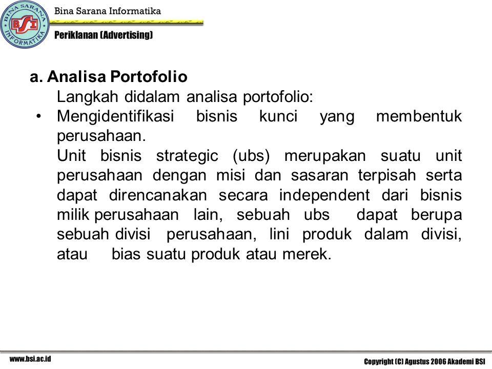 a. Analisa Portofolio Langkah didalam analisa portofolio: Mengidentifikasi bisnis kunci yang membentuk perusahaan.