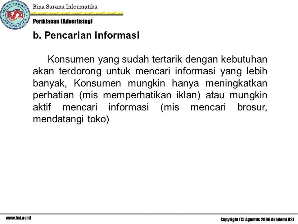b. Pencarian informasi