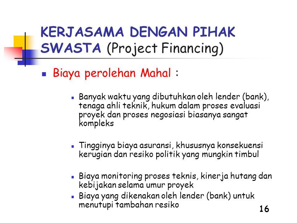 KERJASAMA DENGAN PIHAK SWASTA (Project Financing)