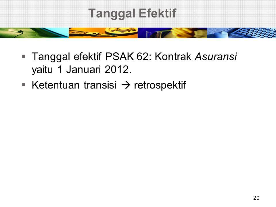 Tanggal Efektif Tanggal efektif PSAK 62: Kontrak Asuransi yaitu 1 Januari 2012.