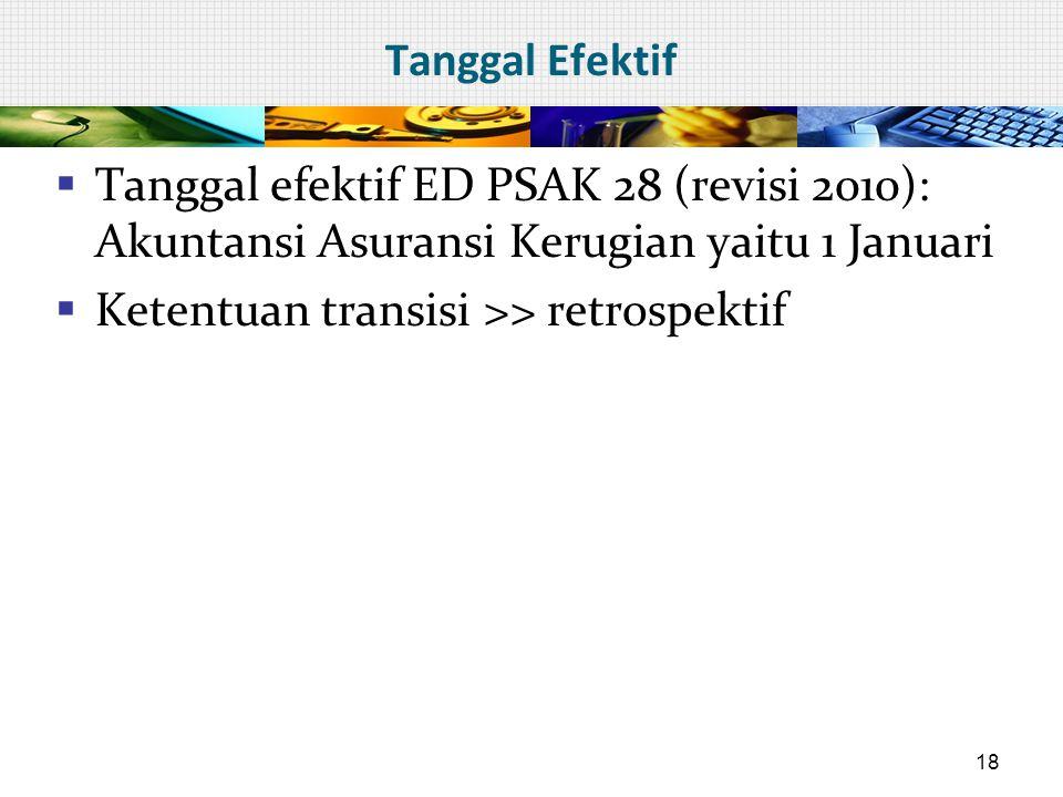 Tanggal Efektif Tanggal efektif ED PSAK 28 (revisi 2010): Akuntansi Asuransi Kerugian yaitu 1 Januari.
