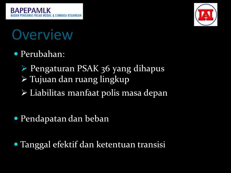Overview  Perubahan:  Pengaturan PSAK 36 yang dihapus  Tujuan dan ruang lingkup.  Liabilitas manfaat polis masa depan.