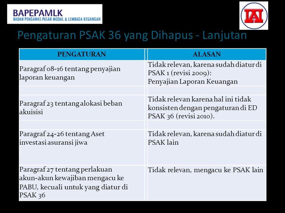 Pengaturan PSAK 36 yang Dihapus - Lanjutan