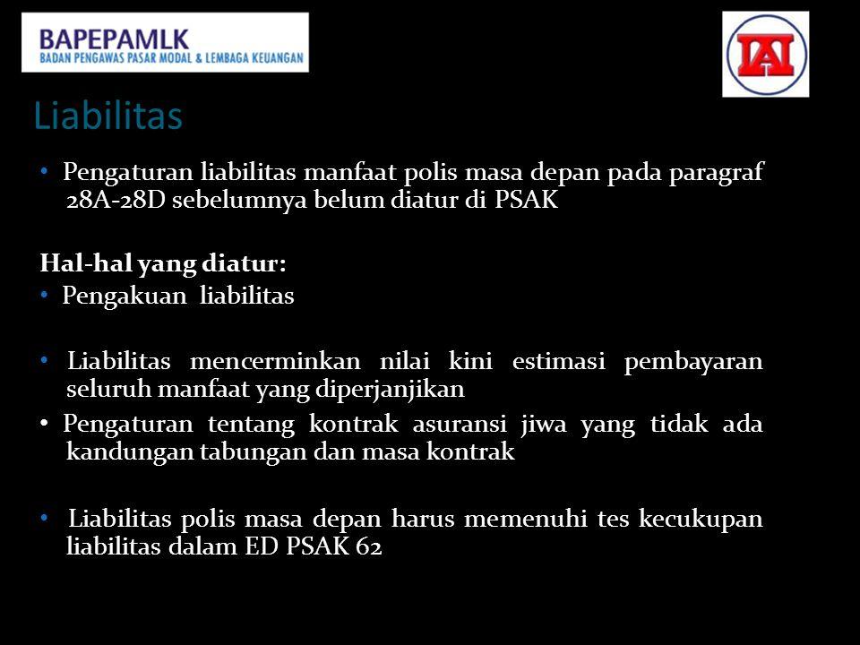 Liabilitas • Pengaturan liabilitas manfaat polis masa depan pada paragraf 28A‐28D sebelumnya belum diatur di PSAK 36.