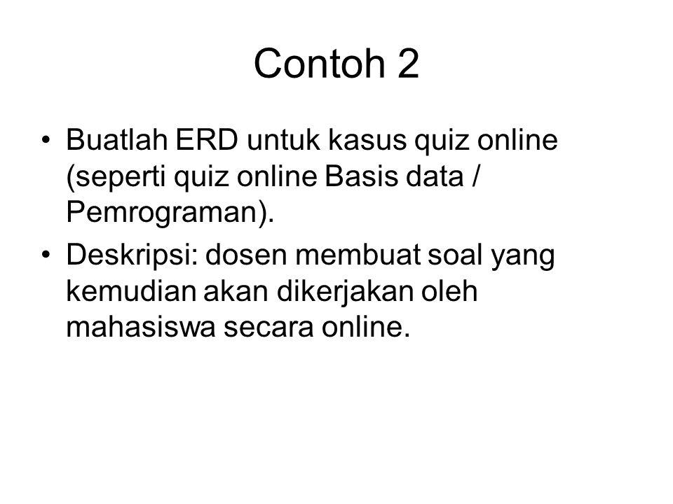 Contoh 2 Buatlah ERD untuk kasus quiz online (seperti quiz online Basis data / Pemrograman).