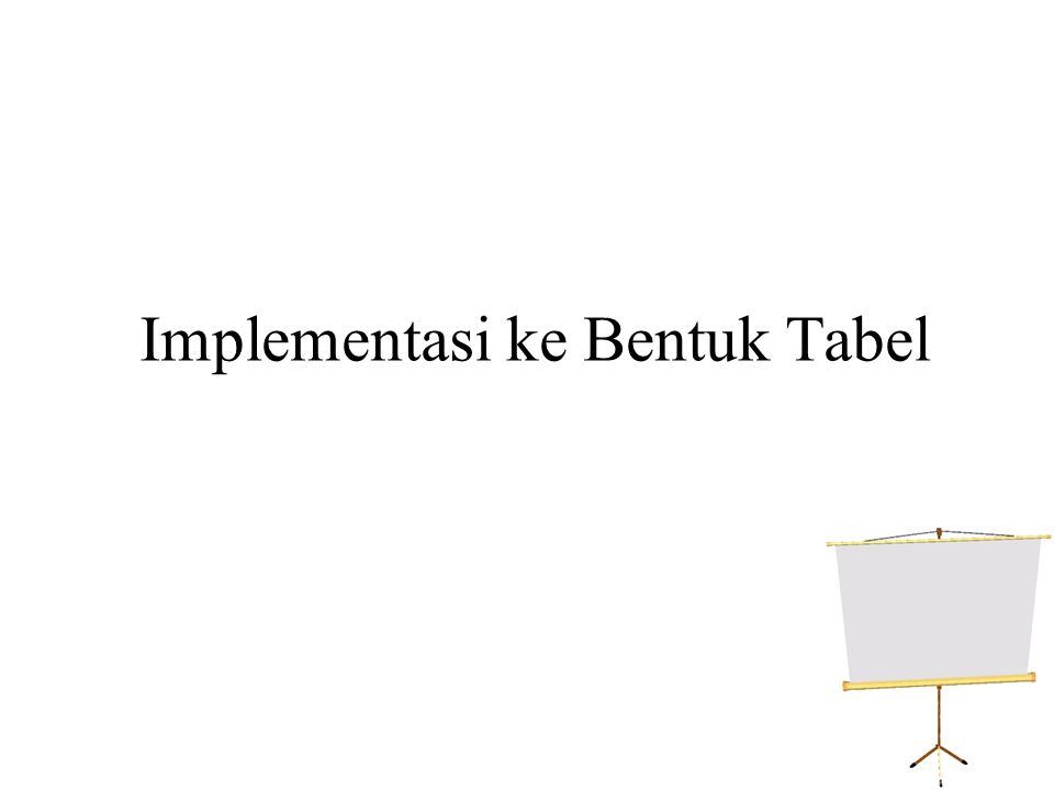 Implementasi ke Bentuk Tabel