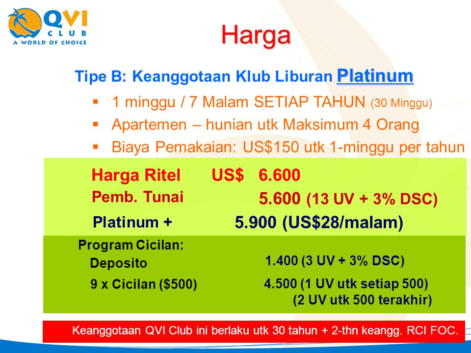 Harga Harga Ritel US$ 6.600 5.600 (13 UV + 3% DSC) 5.900 (US$28/malam)
