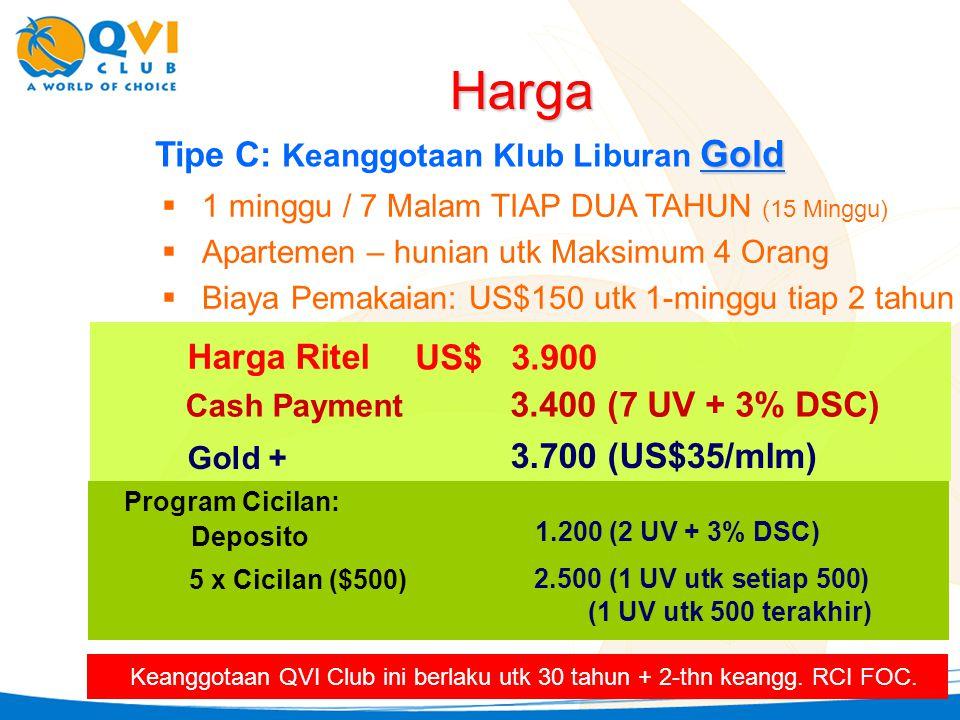Harga Tipe C: Keanggotaan Klub Liburan Gold Harga Ritel US$ 3.900