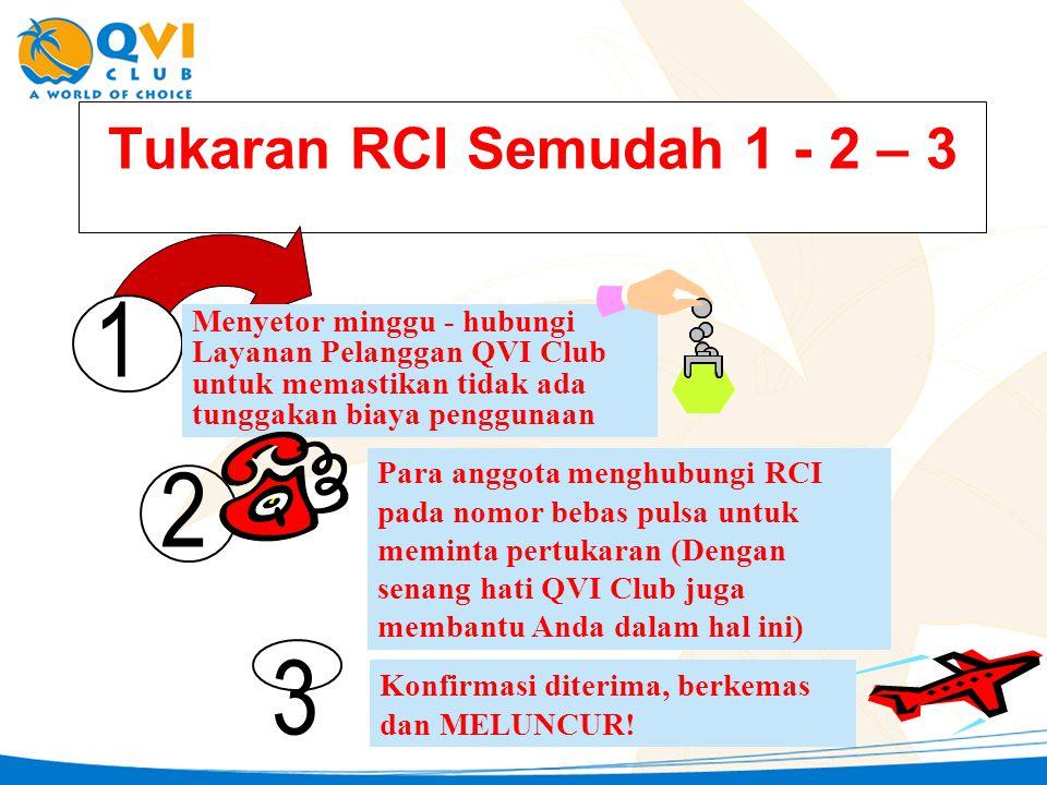 Tukaran RCI Semudah 1 - 2 – 3 1. Menyetor minggu - hubungi Layanan Pelanggan QVI Club untuk memastikan tidak ada tunggakan biaya penggunaan.