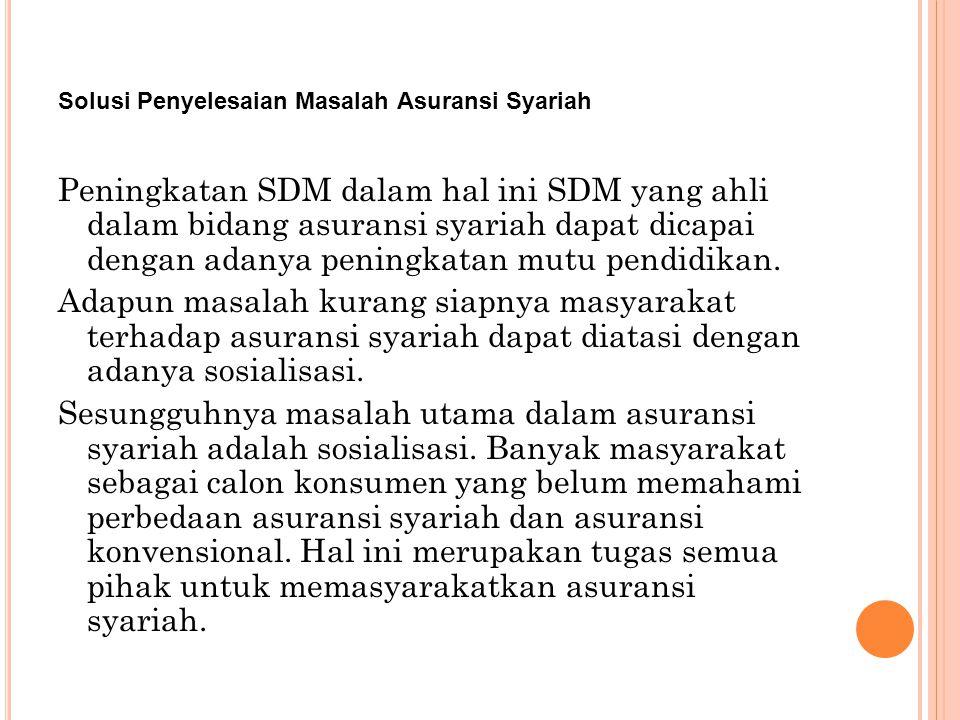 Solusi Penyelesaian Masalah Asuransi Syariah