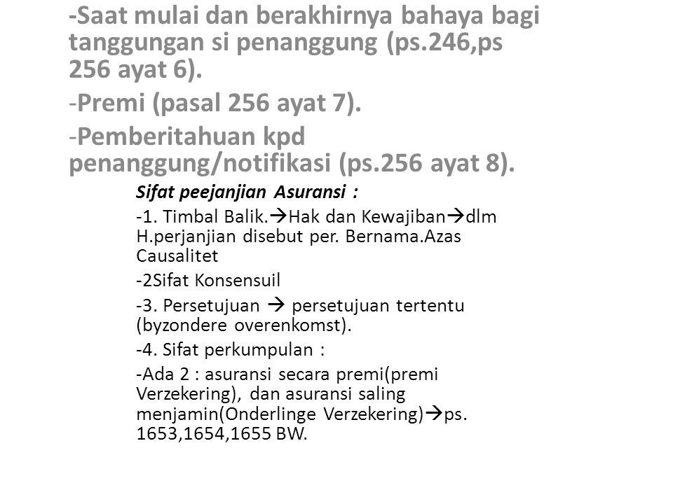 Pemberitahuan kpd penanggung/notifikasi (ps.256 ayat 8).