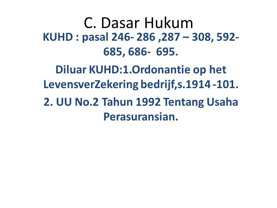 C. Dasar Hukum KUHD : pasal 246- 286 ,287 – 308, 592- 685, 686- 695.