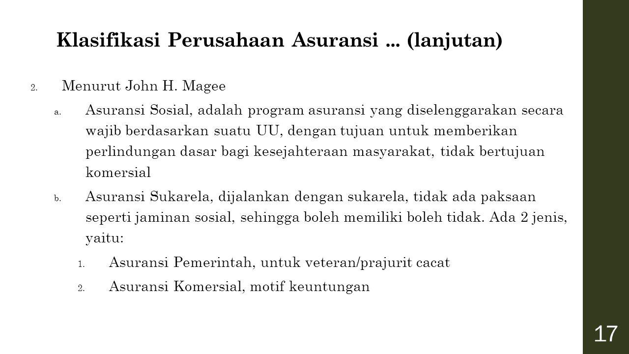 Klasifikasi Perusahaan Asuransi ... (lanjutan)