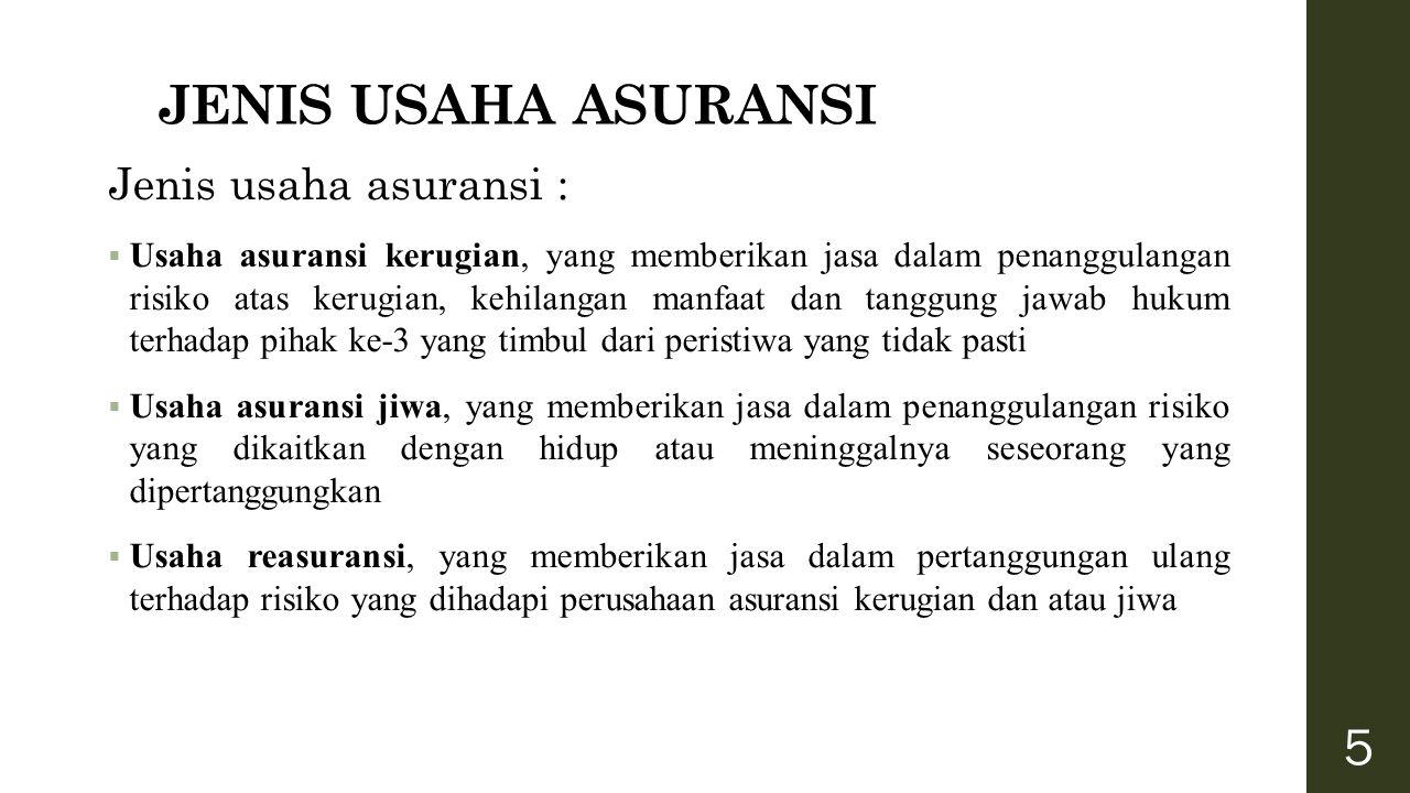 JENIS USAHA ASURANSI Jenis usaha asuransi :