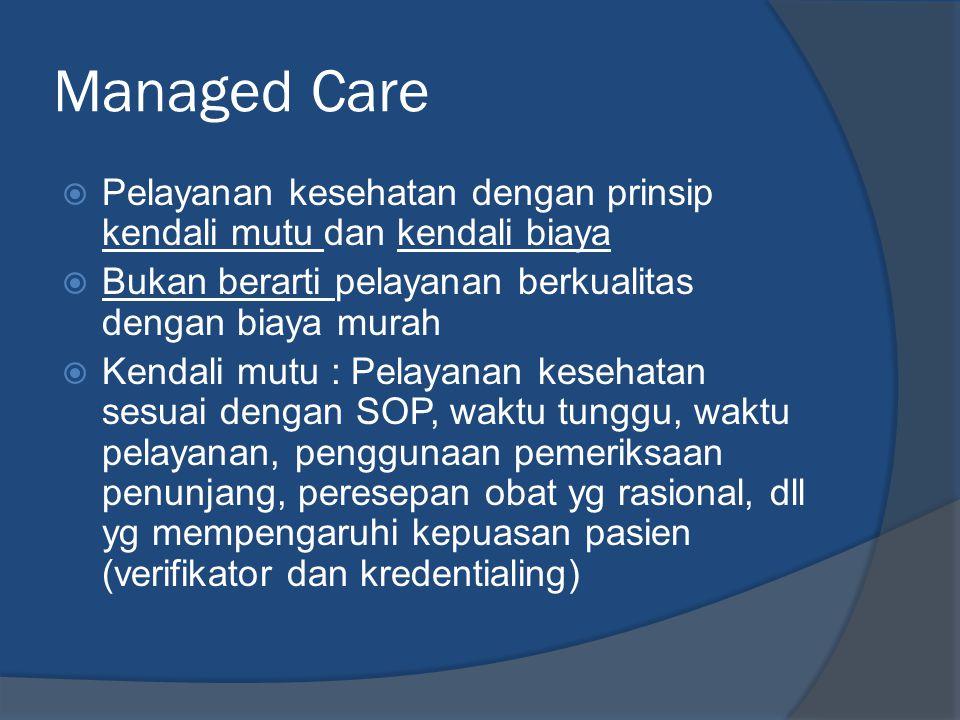 Managed Care Pelayanan kesehatan dengan prinsip kendali mutu dan kendali biaya. Bukan berarti pelayanan berkualitas dengan biaya murah.