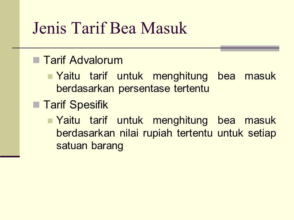 Jenis Tarif Bea Masuk Tarif Advalorum Tarif Spesifik