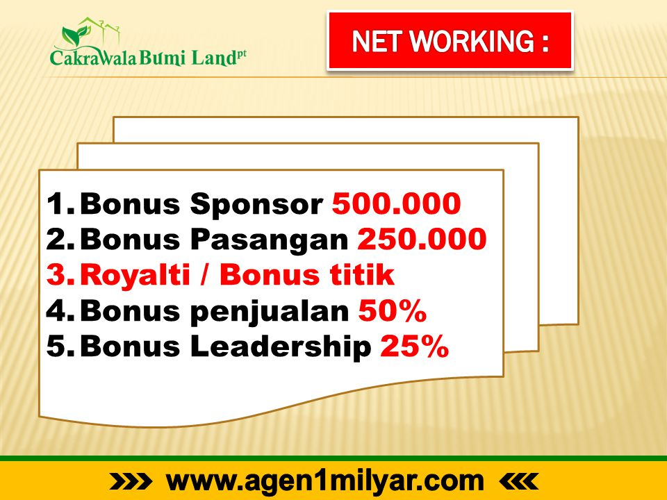 Net Working : Bonus Sponsor 500.000. Bonus Pasangan 250.000. Royalti / Bonus titik. Bonus penjualan 50%