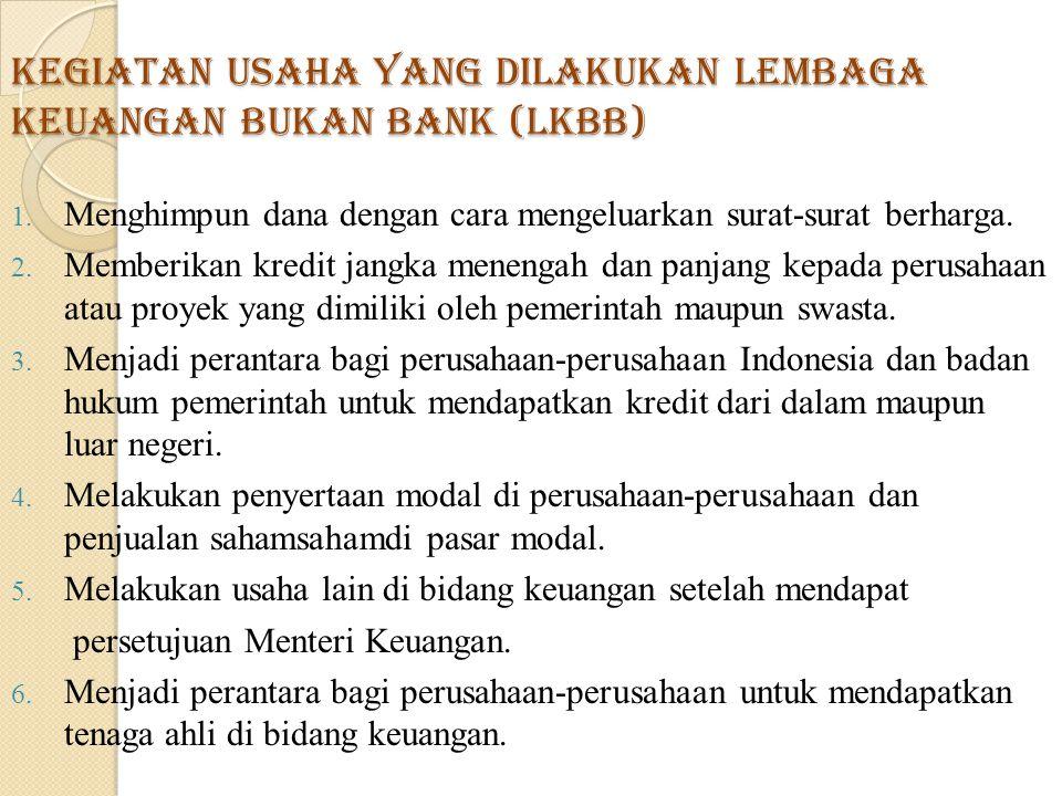 Kegiatan usaha yang dilakukan Lembaga Keuangan Bukan Bank (LKBB)